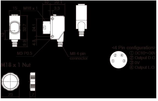 photoelectric sensors bgs sensor m18 threaded front. Black Bedroom Furniture Sets. Home Design Ideas